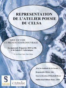 image L'atelier poésie du Celsa à la Galerie l'Achronique 2019
