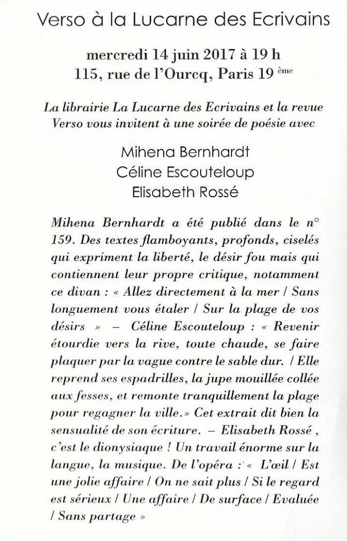 Invitation Oeil Dit à la Lucarne des écrivains