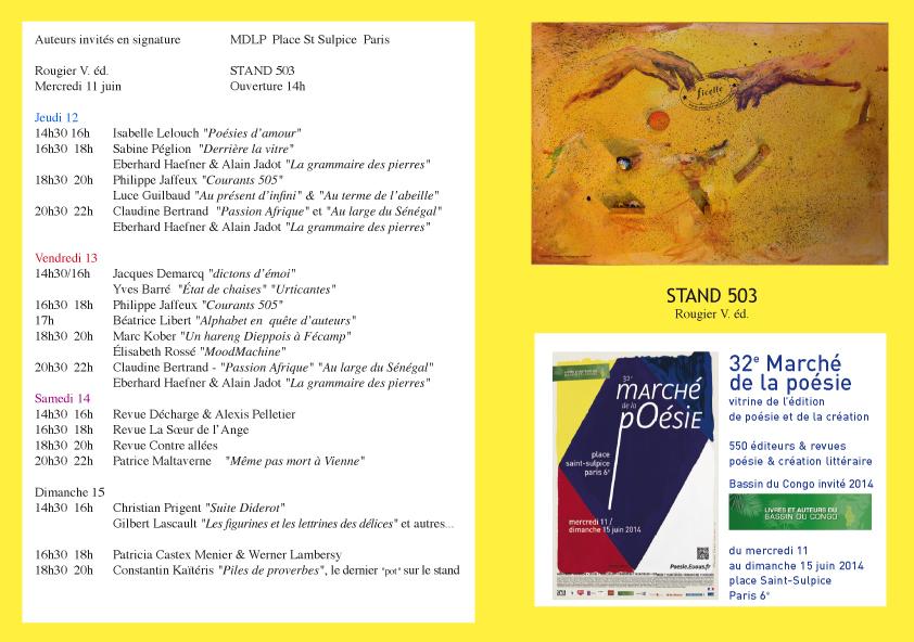 Programme des éditions Rougier au marché de la poésie